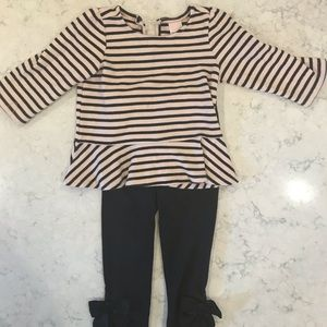 Janie and Jack- Pink/ Black Matching Set- size 3T